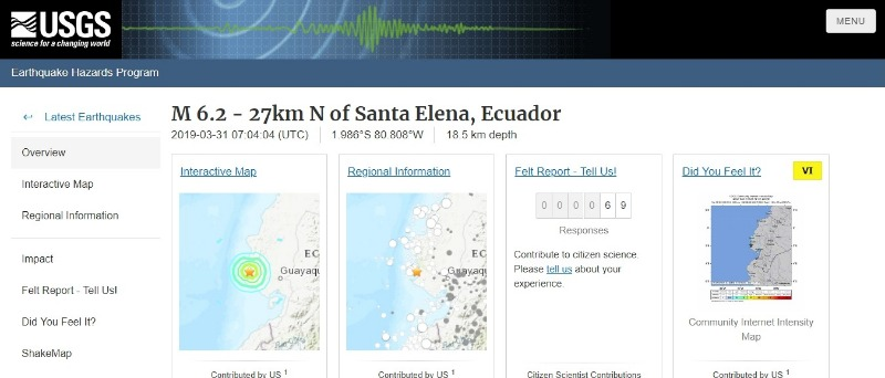 【赤道直下】南米エクアドルで「M6.2」の地震発生