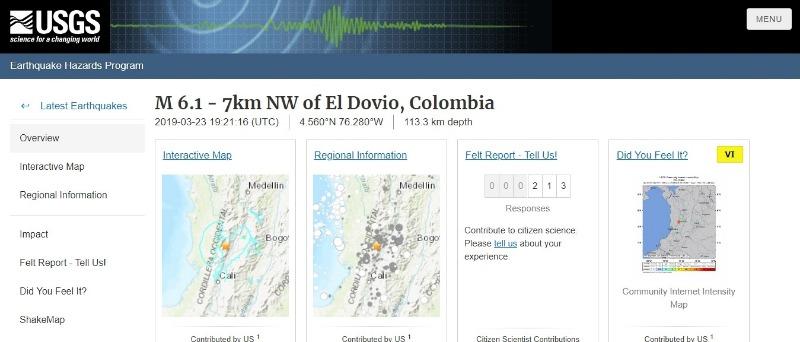 【USGS】コロンビア西部で「M6.1」の地震発生