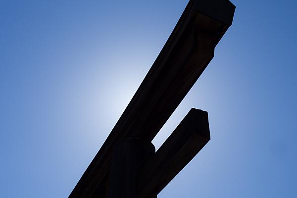 吉野神宮大鳥居と太陽