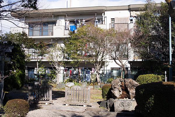 島田神社境内とアパート