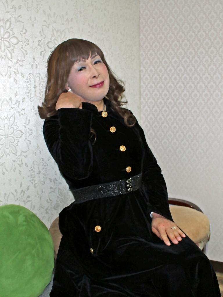 黒ベルベットワンピカラオケ(8)