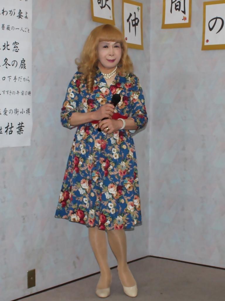 青地総花柄ワンピースE(1)