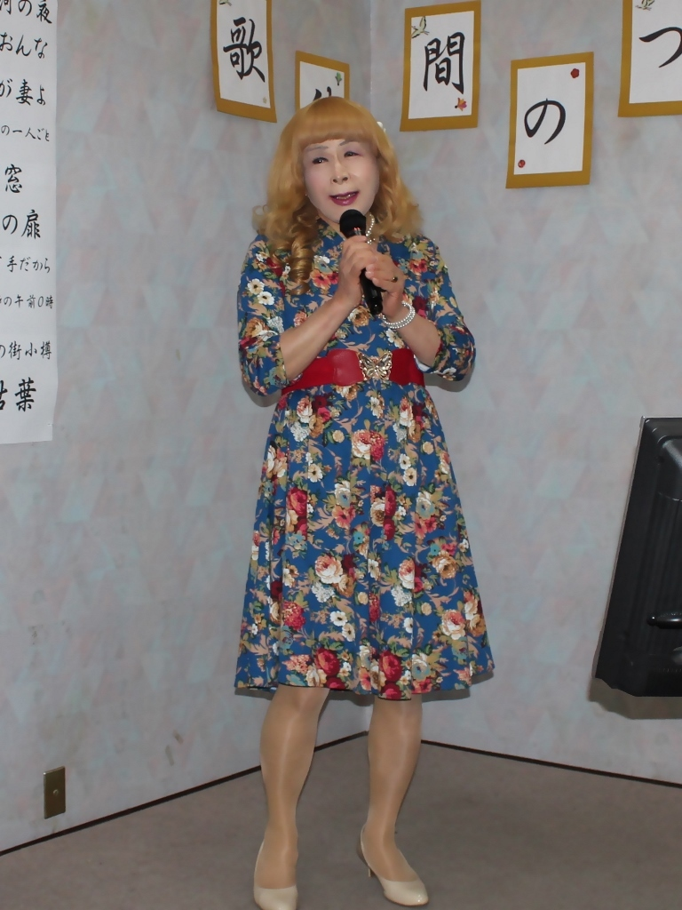 青地総花柄ワンピースE(4)