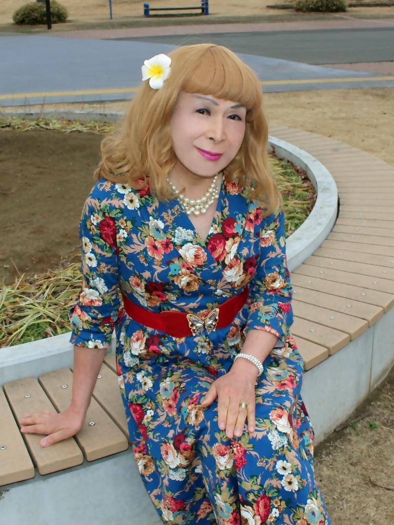 青地総花柄ワンピースE(8)