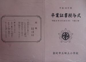 田上小卒業式次第