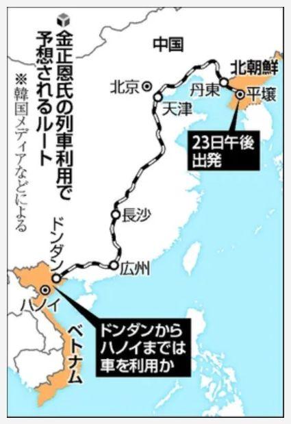 金正恩の列車利用ルート