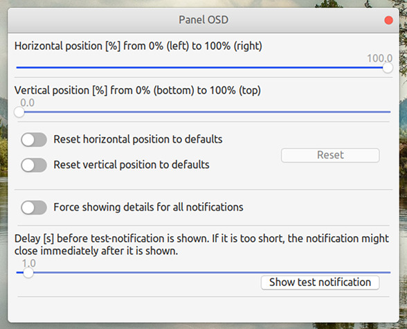 Panel OSD GNOME拡張機能 オプション