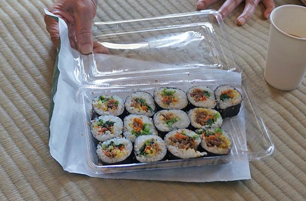 とっても美味しかったスタッフの方手作りのキムパフ(朝鮮巻き寿司)