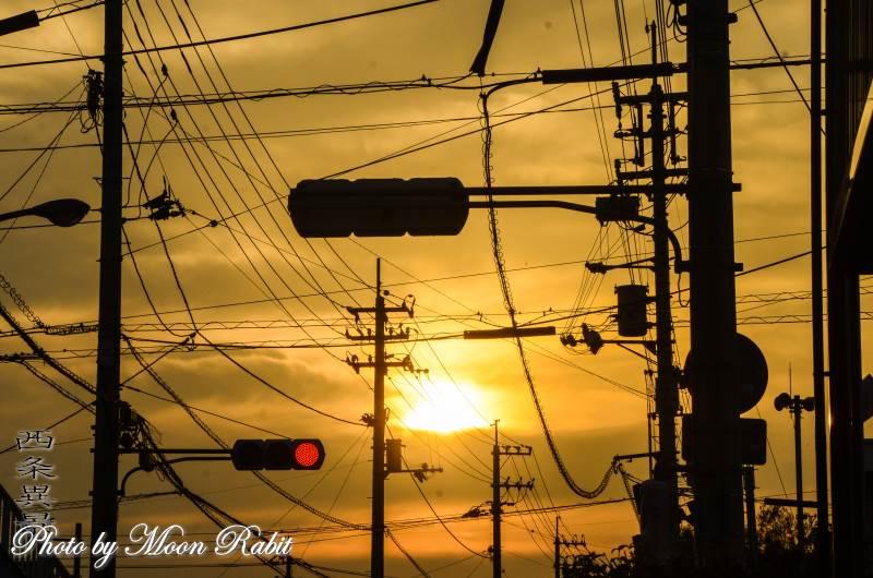 夕日と電柱 愛媛県西条市原の前